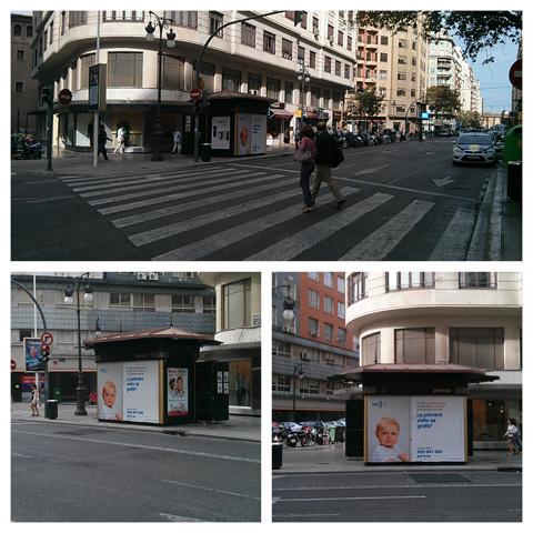 """Publicidad """"IVI"""" en kiosko de la Avenida Barón de Cárcer en Valencia"""