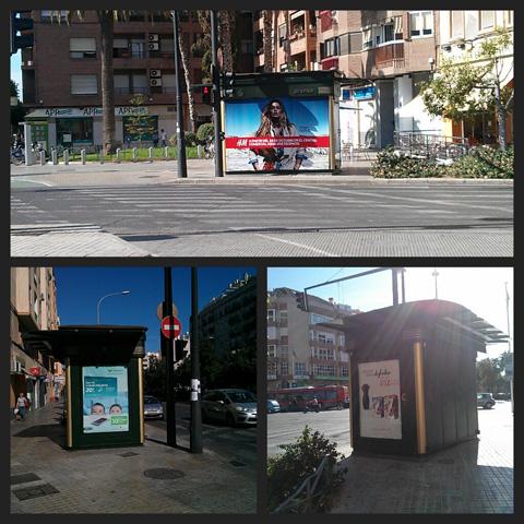 Publicidad en kioskos avenida del puerto esquina con serrería en Valencia