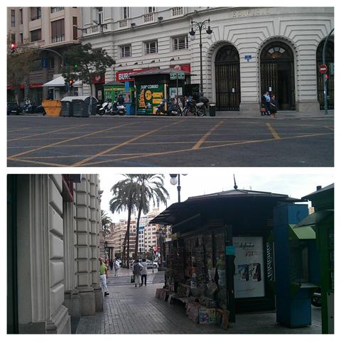 Publicidad en el kiosko ubicado en la calle marqués de sotelo junto a la plaza del ayuntamiento