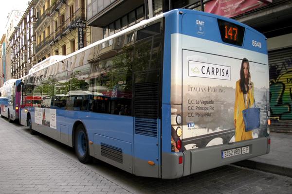 """Publicidad """"Carpisa"""" trasera + lateral sencillo autobús urbano"""